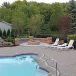 Brick Paver Pool Deck and Outdoor Fire Pit & Water Feature