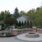 Brick Paver Walkway and Seating Wall with Fire Pit, Clarkston, MI