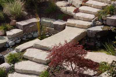Oakland Township Landscape Natural Stone Water Feature